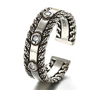 Antique Silver Vintage Stype Open Band Midi Ring for Men/Women