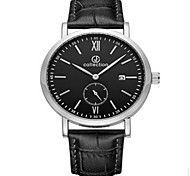 Hombre Reloj de Vestir Cuarzo LED Calendario Reloj Casual Cronómetro Piel Banda Negro Marca MEGIR