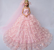 Barbie Doll  Pink Gorgeous Wedding Dress with A Long Veil