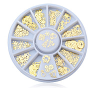 Fashion Women Christmas Gold Metal Tips Glitter Crown Flowers Charms Wheel Manicure 3D Nail Art Decorations