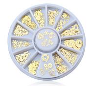 женщин способа рождества золотой короной металлические наконечники блестки цветы амулеты колесо маникюр 3D украшения искусства ногтя