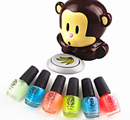 3PCS Noctilucent Jelly Glow Luminous Nail Polish Glow in Dark+Monkey Style Wind Automatic Pressure Activates Nail Dryer