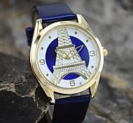 Unisex European Style Fashion Leather Quartz Eiffel Tower Wrist Watch