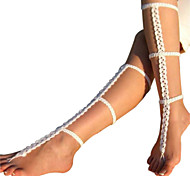 Women's New Style Simple Crochet Wedding Anklet Handmade Barefoot Sandals