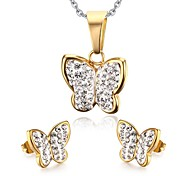 Women's Rhinestone Butterfly Style Gold Stainless Steel Necklace Earrings Jewelry Set