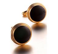 Men's Fashion Black Face Gold Alloy French Shirt Cufflinks (1-Pair)