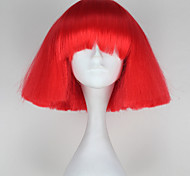 Lady Gaga Style Capless Fashion Short Kinky Straight Red Color Women Synthetic Party Wig