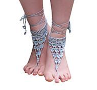 uncinetto cotone fatta a mano alla caviglia cavigliera catena delle donne scava fuori i sandali a piedi nudi