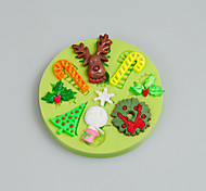 Christmas Tree Leaf Deer Snowman Silicone Mold Fondant Cake Decoration Tools Moule Chocolate Mold Kitchen Accessories