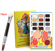 16pcs Professional Eyeshadow Palette + 10PCS Dual Sponge Stick(Eye Shadow Brush + Lip Brush)