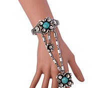 Vintage Antique Silver full Crystal Rhinestone Adjustable Ring Bracelet for Wedding Party Dance