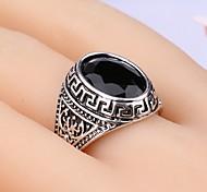New Vintage Men Women's Black Gem Geometric Arc Silver Ring