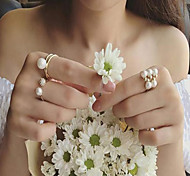Pearl inlaid diamond three piece ring jewelry
