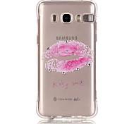 Pink Lip Pattern TPU Popular Brands Calling Flash Case Cover For Samsung Galaxy J7 (2016) / J5 (2016) / J1 (2016)
