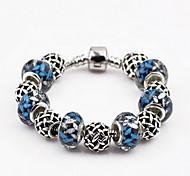 Antique Silver Blue Beads Strand Bracelet