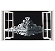 Big Size 3D Movie Warship Spaceship 3D Wall Stickers PVC Wall Stickers Bedroom Wall Decals