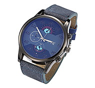 Men's Black Case Black/Coffee PU Denim Band Dress Wrist Watch Fashion Watch Cool Watches Unique Watches
