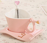 The New Heart-shaped Ceramic Bone China Coffee Cup Fashion Lovers Mug Classic Cup