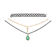 Fashion Women Trendy Stretch Tattoo Choker Drop Pendant Necklace Set