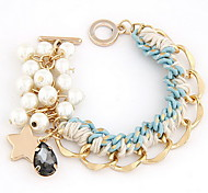 Golden Chain with Pearl  Weave Bracelet