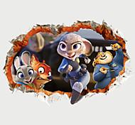 3D Big Size Broken Wall Design Cartoon Animals City Bunny Police 3D Wall Stickers