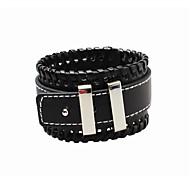 Homme Bracelets en cuir Cuir Mode Simple Style Style Punk Forme Géométrique Noir Marron Bijoux 1pc