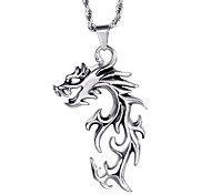 Chinese Traditional Style Jewelry Men's Stainless Steel Dreagon Pendant Necklace