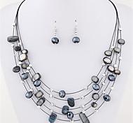 Жен. Серьги-слезки Ожерелье / серьги Слоистые ожерелья Кристалл Базовый дизайн Богемия Стиль Многослойный Массивные украшения бижутерия