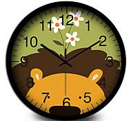 Creative Cartoon Lion Head Room Mute Children Quartz Wall Clock