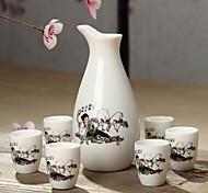 Ceramics Wine Set(7 Piece Random pattern)
