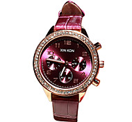 Women's Sparkle Fashion Leather Band Quartz Watch