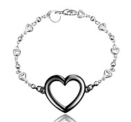 Christmas Gift Love Heart Black and Silver Fashion Jewelry Bracelet for Girl