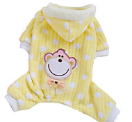 Dog Hoodie / Pajamas Pink / Yellow Dog Clothes Winter Polka Dots