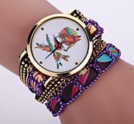 Women's Bohemian Style Fabric Band White Pirate Skull Case Analog Quartz Layered Bracelet Fashion Watch