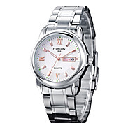 Men's Dress Watch Calendar Noctilucent Casual Watch Quartz Stainless Steel Band Silver