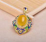 Women's Yellow Stone Gold Plated Alloy Pendant for DIY Jewelry
