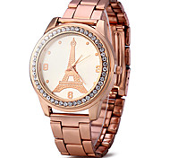 Eiffel Tower Women Diamond Quartz Watch with Stainless Steel Band Fashion Watch Cool Watches Unique Watches