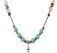Light Green DIY Beads Strand Necklace with Flower Print Cross Pendant Fine Jewelry