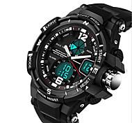 Hombre Reloj Deportivo Reloj Militar Reloj de Moda Digital LCD Calendario Cronógrafo Dos Husos Horarios Noctilucente Silicona BandaDe