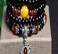 Black Natural Agate Beads Strand Bracelet(55cm)