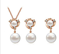 Women's Flower Shape Fashion Pearl Earrings Necklace Set