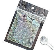 1pcs nail art belle couleur paillettes laser argent en poudre décoration des ongles diy l03
