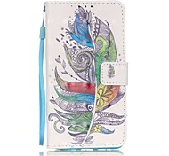 EFORCASE® Colorful Feathers 3D Painted Lanyard PU Phone Case for Huawei P9lite