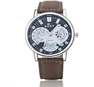 Men's Black/Brown Leather Band Heart Gold Analog Quartz Dress Skeleton Watch(NO Water Ressistant)