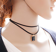 Simple Style Black Velvet Strip Pendant Necklace