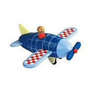 Blue Plane Wooden Magnetic Building Toy
