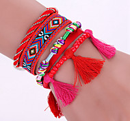 New Fashion Native Style Boheme Tassel Multilayer Weave Leather Alloy Buckle Bracelet Bangle