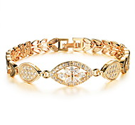 Women's Gold Chain Bracelet with Crystal Clover Shape