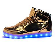 Sapatos Masculinos-Rasos-Vermelho / Prateado / Dourado-Couro Ecológico-Ar-Livre / Casual / Festas & Noite