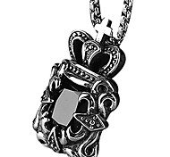 Retro Titanium Necklace Pendant Crown Jewels - Black